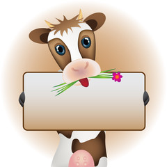 Cute brown cow with board and flower