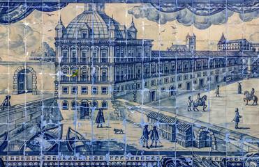 Ancient ceramic tile, Lisbon, Portugal.