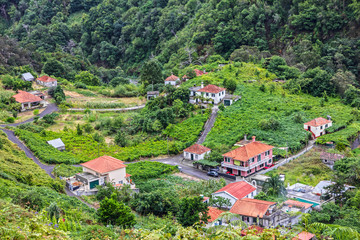 Madeira rural houses panoramic view, Portugal