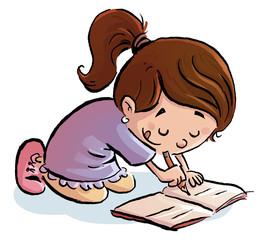 niña escribiendo en el suelo