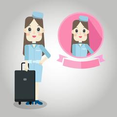 air hostess Mascot cartoon great for any use. Vector EPS10.