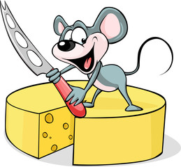 mouse holding a cheese knife - vector illustration  isolated