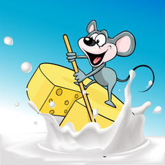Mouse sails on raft cheese - vector illustration