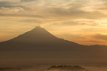 Colorful sunrise with Merapi volcano