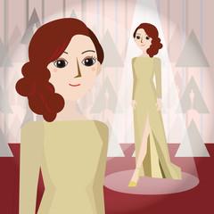 womein in cream dress Mascot cartoon. Vector EPS10.