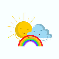 The sun, the clouds and the rainbow