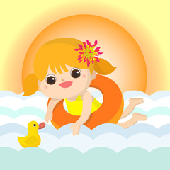 Girl Swim Mascot cartoon great for any use. Vector EPS10.