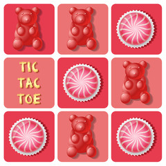 strawberry cake ball and jelly gummy in tic-tac-toe game