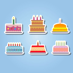 set of color icons with birthday cake for your design