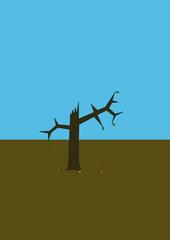 сухое сломанное дерево
