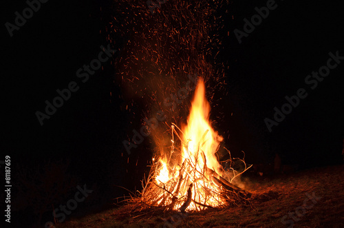 Foto op Aluminium Vuur / Vlam feuer, brennen, lagerfeuer