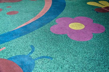 Colorful floor in play ground