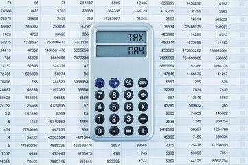 tax day in the display of a calculator
