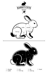 Rabbit Cuts Black and White Diagram Isolated on White