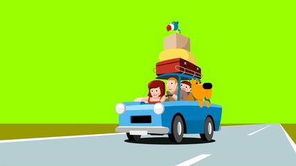Family in a blue car, cartoon footage, on a green background
