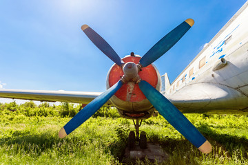 Turbine of old russian turboprop aircraft at the abandoned aerod
