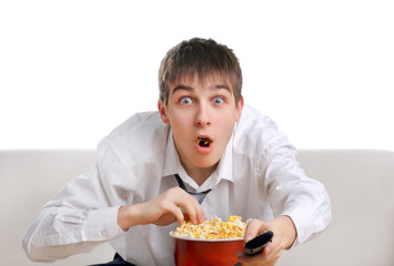 Surprised Teenager with Popcorn