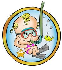 Bebe Mergulhador Menina no útero