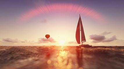 Sunrise summer scene, air balloon and yacht sailing