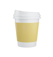 Coffee in takeaway cup isolated on white