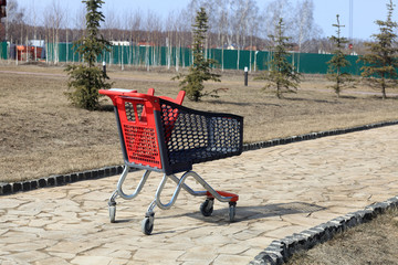 Shopping trolley on the track