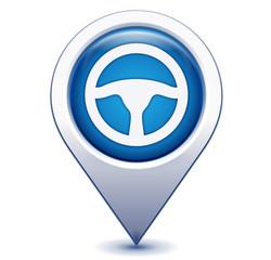 volant sur marqueur géolocalisation bleu