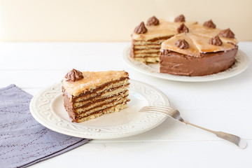 Piece of layered cake (Dobosh Hungarian cake)
