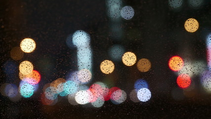 Nightlapse of out of focus illumination in rain.
