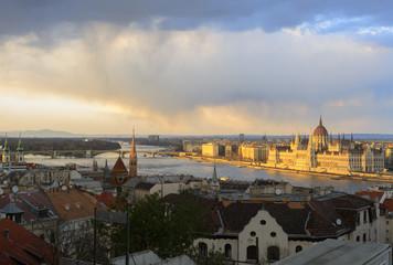 Budapest panorama at sundown