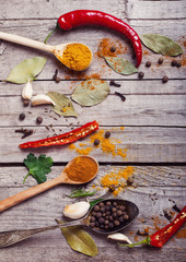 Colorful spices on a wooden background