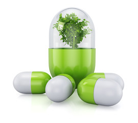Medical pill with plant inside