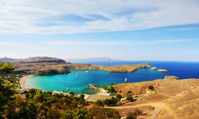 Azure Bay in Lindos (Rhodes Island, Greece)
