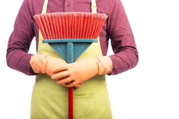 Closeup portrait of man holding a sweep