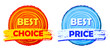 best choice and best price, orange and blue round drawn labels