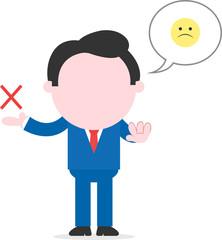 Sad businessman showing x mark