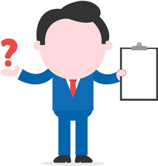 Businessman holding clipboard and showing question mark