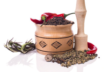 common fragrant herbs and spices with mortar