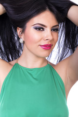 Closeup portrait of beautiful brunette woman posing