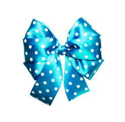bright cyan bow with white polka dots made from silk