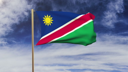 Namibia flag waving in the wind. Green screen, alpha matte