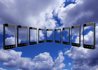 smart-phones transparent on the blue sky background