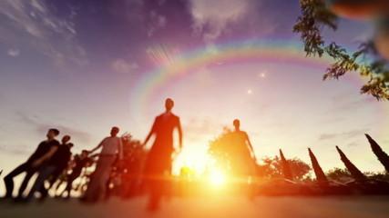 Crowd walking at sunset, low pov camera flying