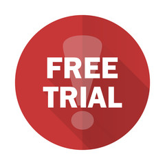 free trial red flat icon
