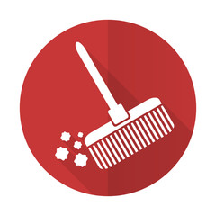 broom red flat icon clean sign