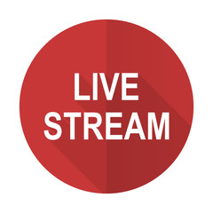 live stream red flat icon