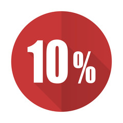 10 percent red flat icon sale sign