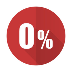 0 percent red flat icon sale sign