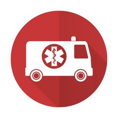 ambulance red flat icon