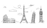 Hand drawn sights of Europe. - 81195846