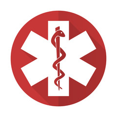 emergency red flat icon hospital sign